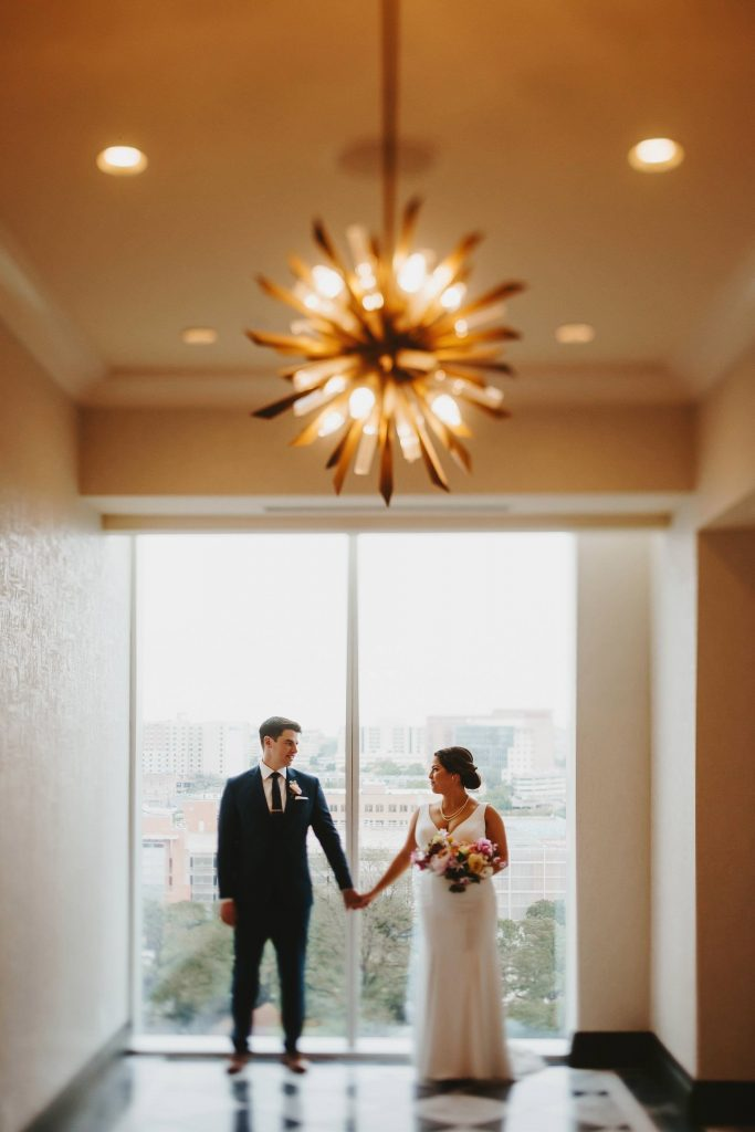 bride and groom at reception at fairmont austin