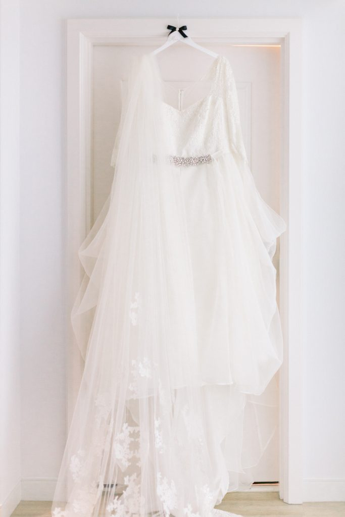 bride gown in guest room