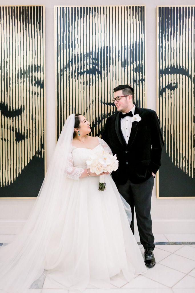 bride and groom at fairmont austin