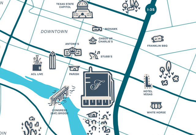 Overhead illustration map of Fairmont and surrounding landmarks and nightlife spots