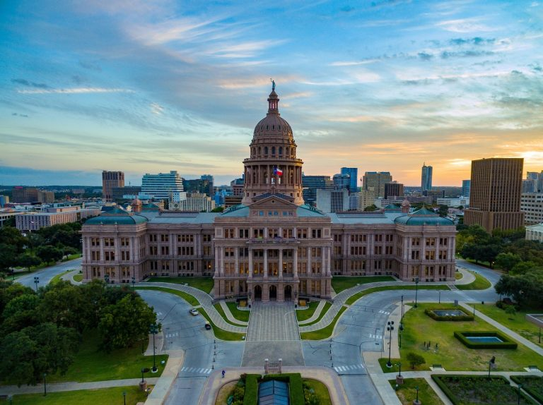 sunset view of austin texas capitol building