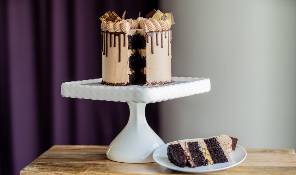 fairmont austin's Chocolate Cake: Devil food cake, passion fruit cremeux, macadamia and milk chocolate