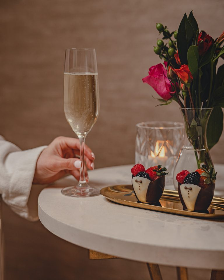 champagne and chocolate strawberries at fairmont austin
