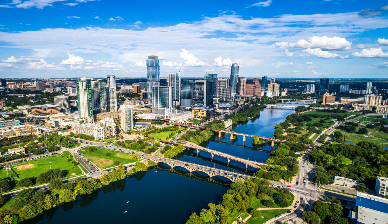 Austin Texas Aerial drone view above City Panoramic Panorama Afternoon Sun on City Skyline Cityscape