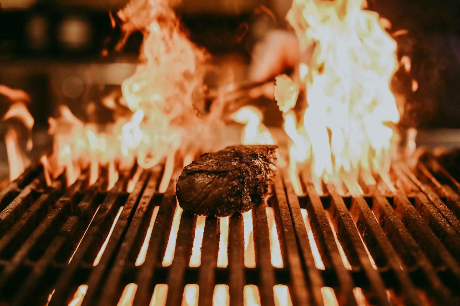steak on grill at garrison