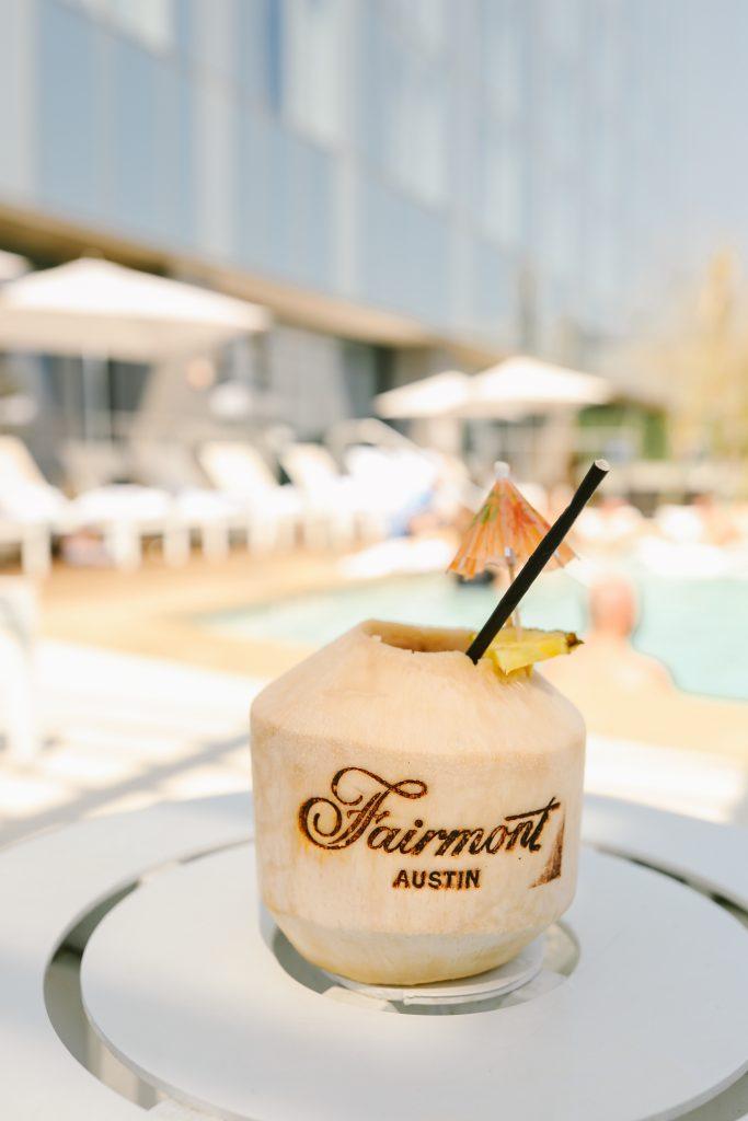 coconut cocktail at fairmont austin pool