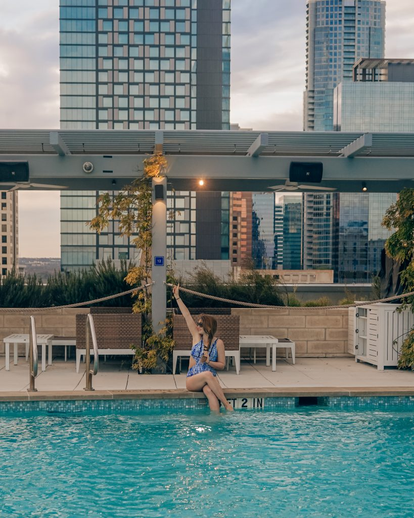 woman in pool at fairmont austin